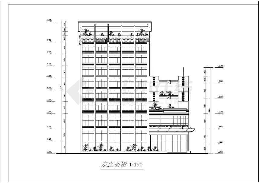 风云大酒店建筑cad施工图(共12张)-图1