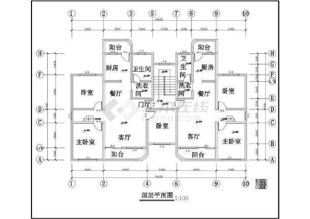 某城市住宅建筑设计cad方案图-图2