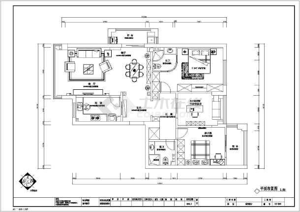 简欧三室住宅装修设计施工图-图2