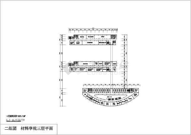 某地材料学院建筑设计方案图(共5张)-图1