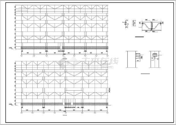 一套钢结构多层厂房cad设计施工图纸-图2