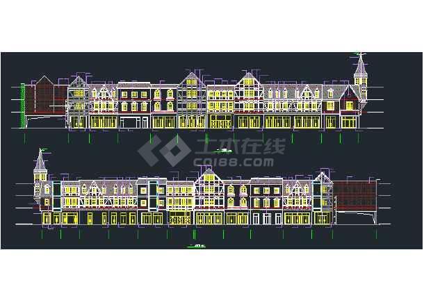 某欧情商业街建筑施工图-图1