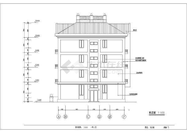 点击查看某5层私宅建筑施工设计CAD图第1张大图