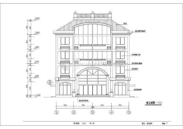 点击查看某5层私宅建筑施工设计CAD图第2张大图