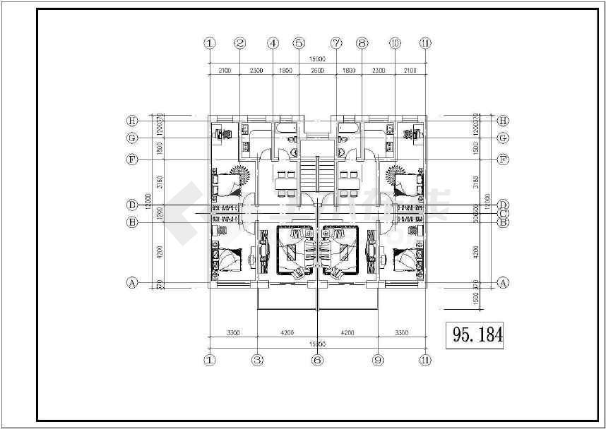 某地小型的北方住宅户型建筑cad图纸(共6张)-图2