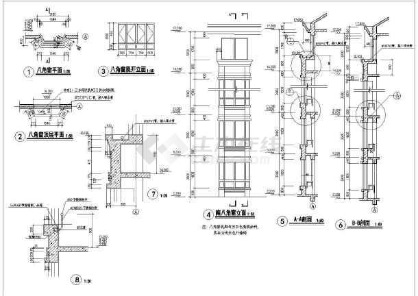 某单位员工住宿楼建筑施工设计CAD-图一