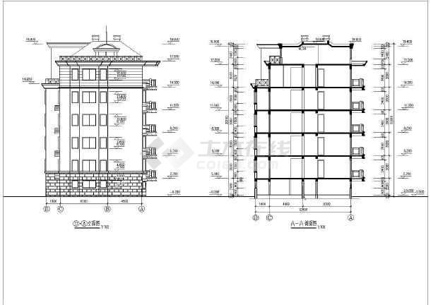某单位员工住宿楼建筑施工设计CAD-图1