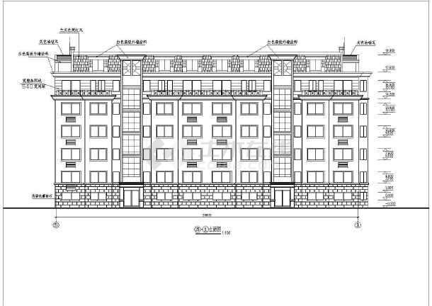 某单位员工住宿楼建筑施工设计CAD-图2