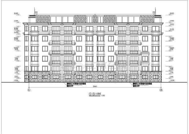 某单位员工住宿楼建筑施工设计CAD-图3