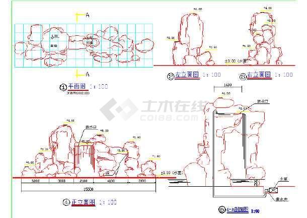 假山水景CAD设计图纸-图1
