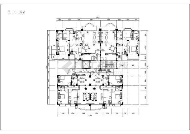 某地塔式住宅户型建筑设计方案图-图1