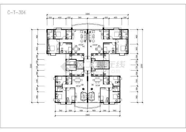 某地塔式住宅户型建筑设计方案图-图2