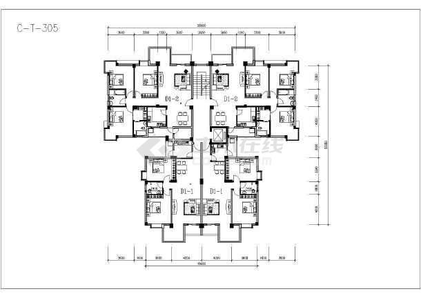 某地塔式住宅户型建筑设计方案图-图3