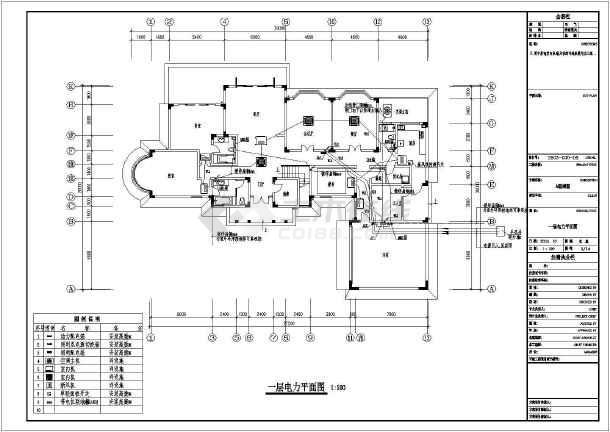 某中型别墅整套电气设计施工CAD图-图2