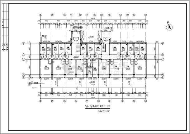 某六层住宅小建筑施工设计CAD图-图3