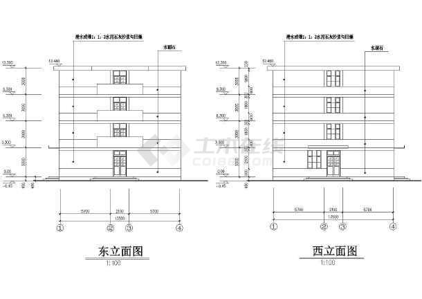 某单位宿舍楼所建筑施工设计CAD图-图1