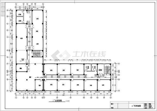 杭州某六层小型办公楼建筑方案cad设计图纸-图2