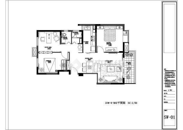 简约风格三居室装修设计施工图-图1
