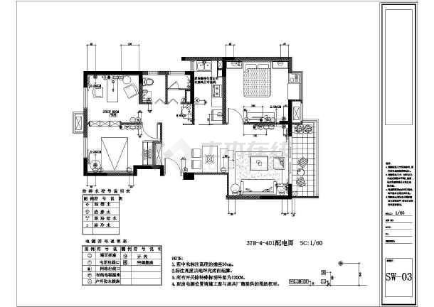 简约风格三居室装修设计施工图-图2