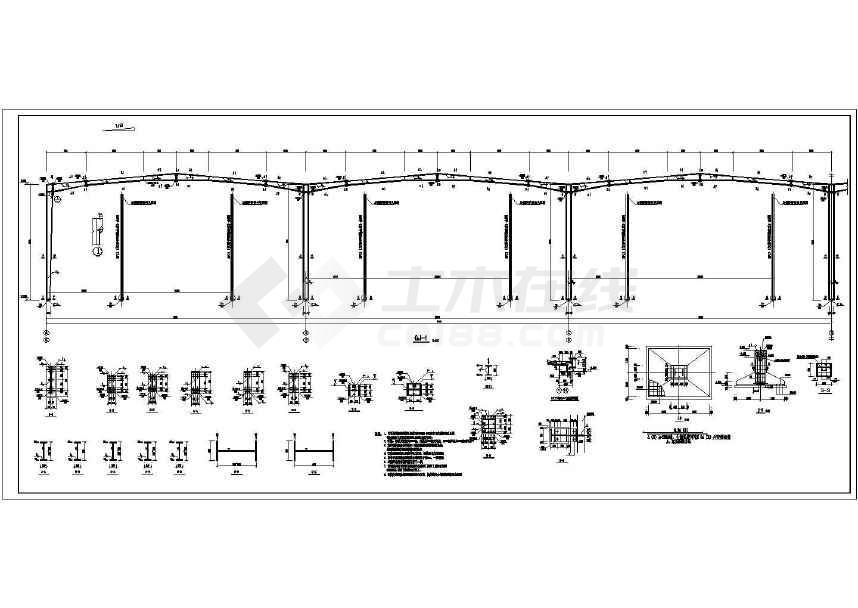 某地工业园门式钢架厂房结构施工图-图3