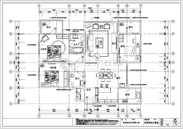 混搭三居室装修设计施工图-图3