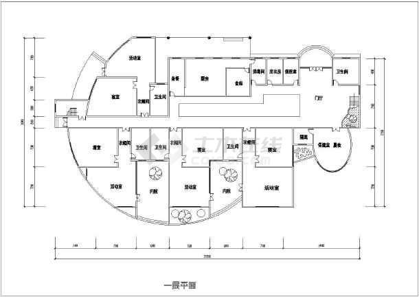 某地幼儿园建筑设计图(共6张)-图1