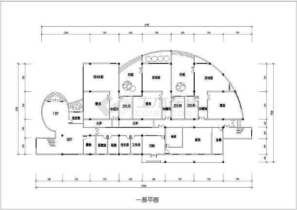 某地幼儿园建筑设计图(共6张)-图3