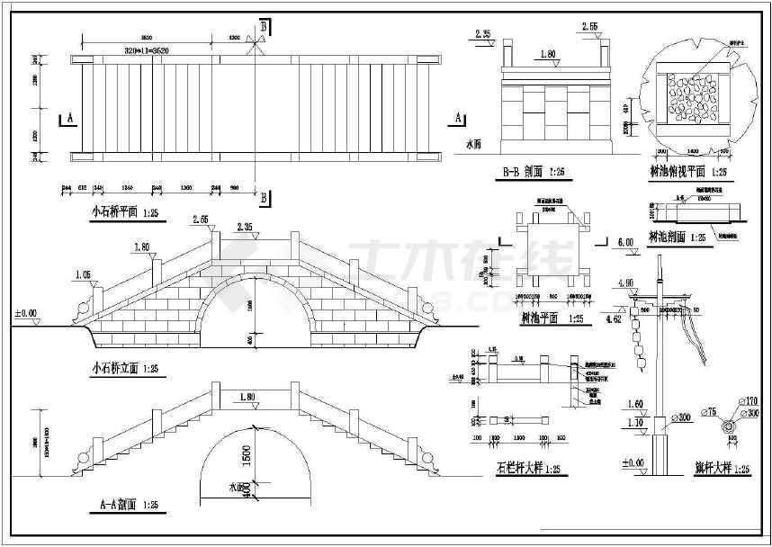 园林设计常用景观桥图纸-图1