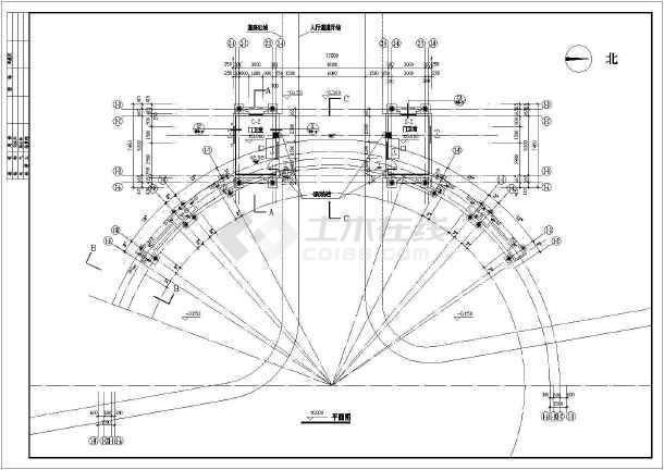 住宅小区大门建筑设计CAD施工图纸-图1