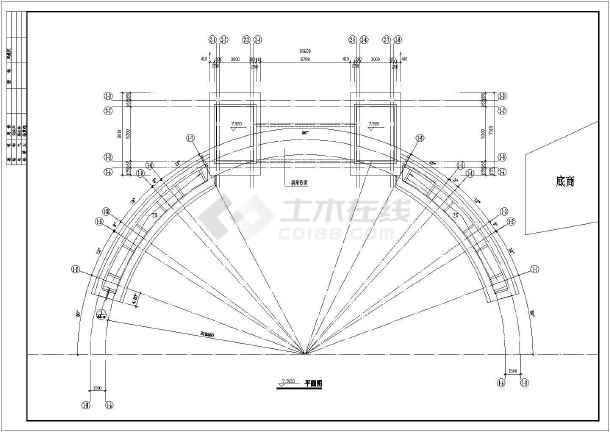 住宅小区大门建筑设计CAD施工图纸-图2