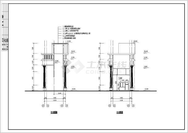 住宅小区大门建筑设计CAD施工图纸-图3