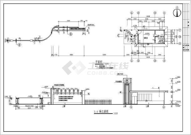 某小区大门建筑设计cad详细方案图-图2