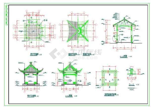 古建长廊建筑施工图及大样图-图2
