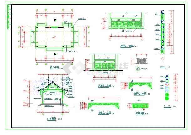 古建长廊建筑施工图及大样图-图3