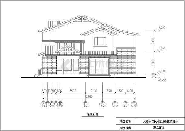 某地生态型居住区二层双拼别墅建筑设计方案图-图一