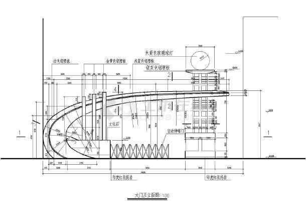 某小区大门建筑设计cad方案图-图1