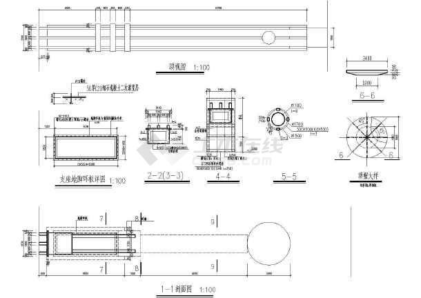 某小区大门建筑设计cad方案图-图2