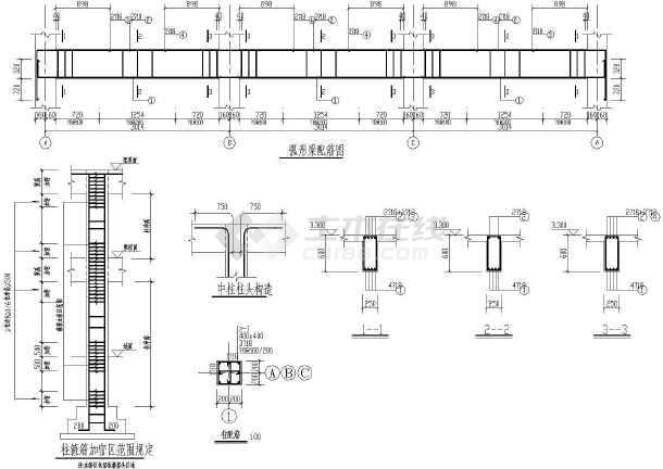 某小区大门建筑设计cad方案图-图3
