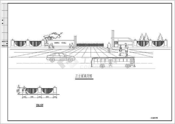 某大门及围墙cad设计方案大样图-图1