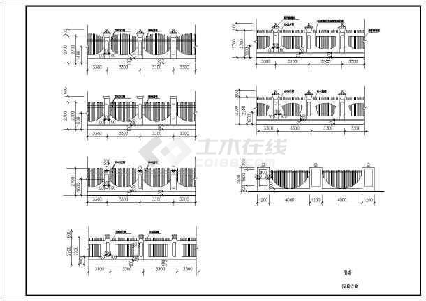 某大门及围墙cad设计方案大样图-图2