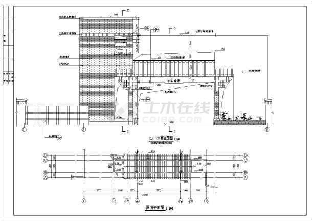 某高档小区大门建筑设计cad方案图-图1