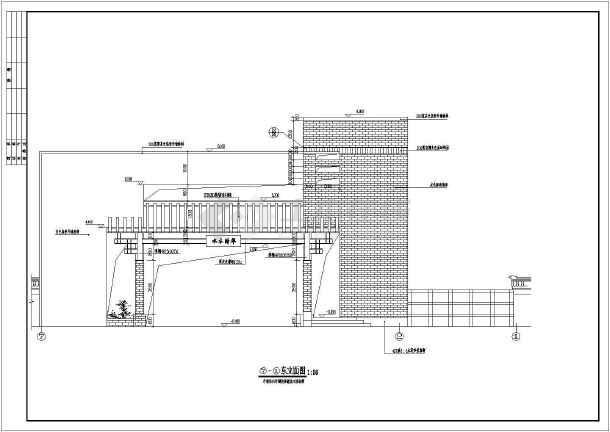 某高档小区大门建筑设计cad方案图-图2