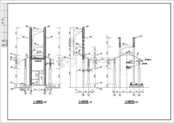 某高档小区大门建筑设计cad方案图-图3