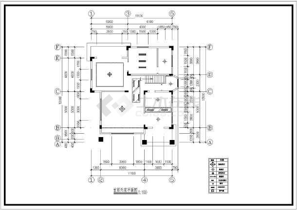 一套小巧别墅装修方案建筑cad图(共7张)-图一