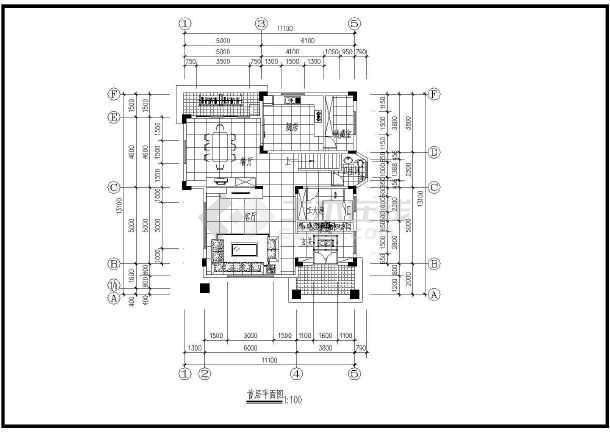 一套小巧别墅装修方案建筑cad图(共7张)-图1