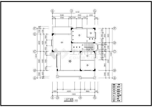 一套小巧别墅装修方案建筑cad图(共7张)-图2