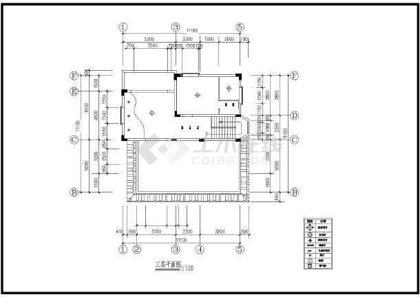 一套小巧别墅装修方案建筑cad图(共7张)-图3