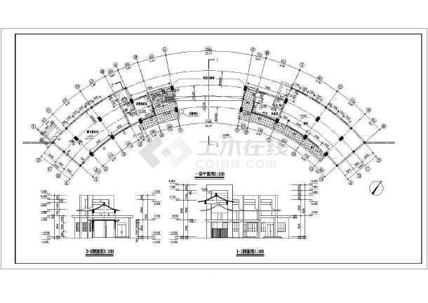 某小区大门建筑设计方案cad图-图2