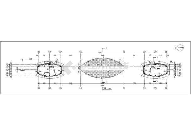 某小区西大门建筑设计cad方案图-图1