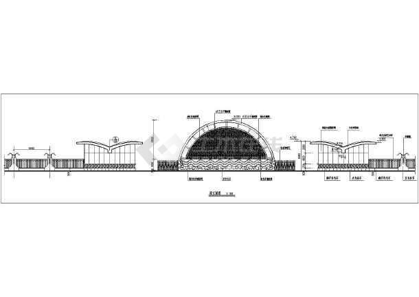某小区西大门建筑设计cad方案图-图2